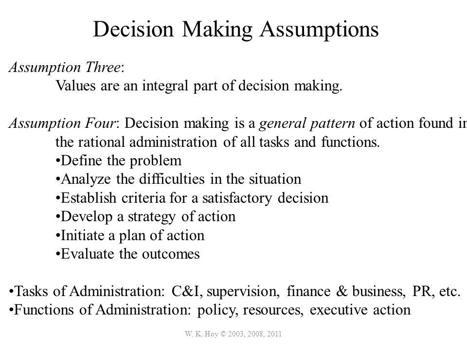 Decision Making Assumptions