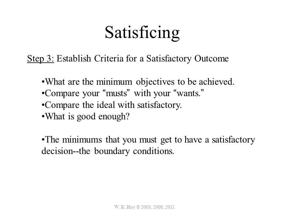 Satisficing Step 3: Establish Criteria for a Satisfactory Outcome