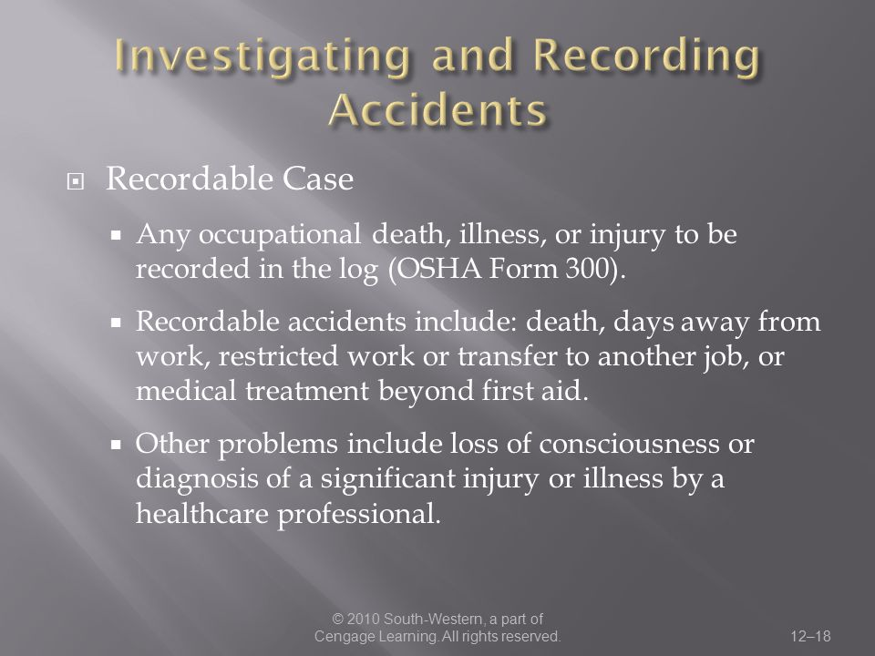 Investigating and Recording Accidents