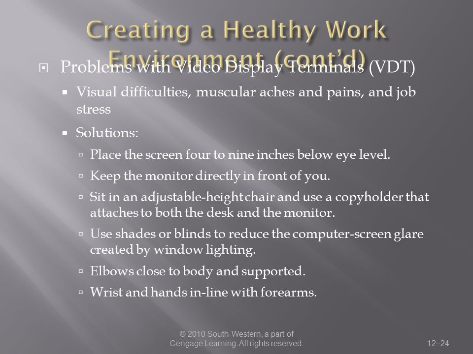 Creating a Healthy Work Environment (cont'd)