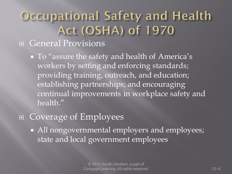 Occupational Safety and Health Act (OSHA) of 1970