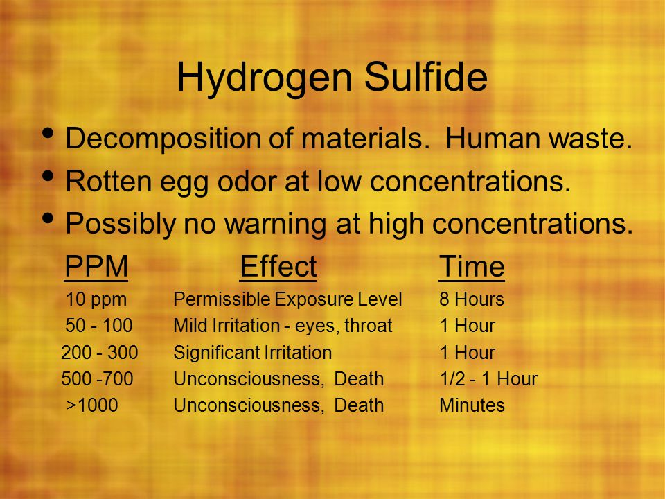 Hydrogen Sulfide Decomposition of materials. Human waste.