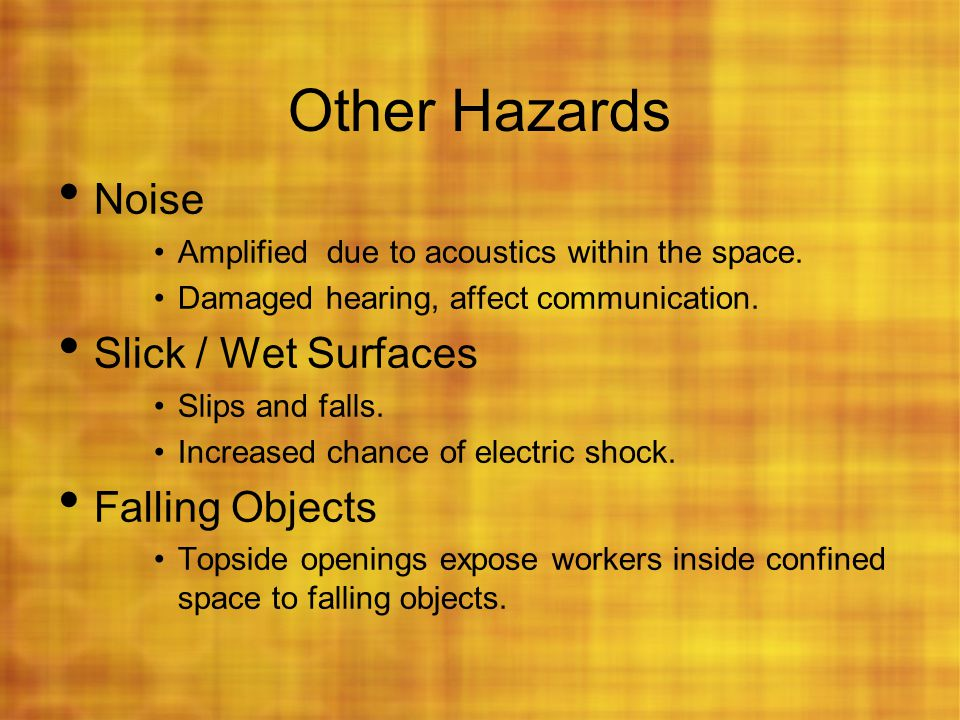 Other Hazards Noise Slick / Wet Surfaces Falling Objects