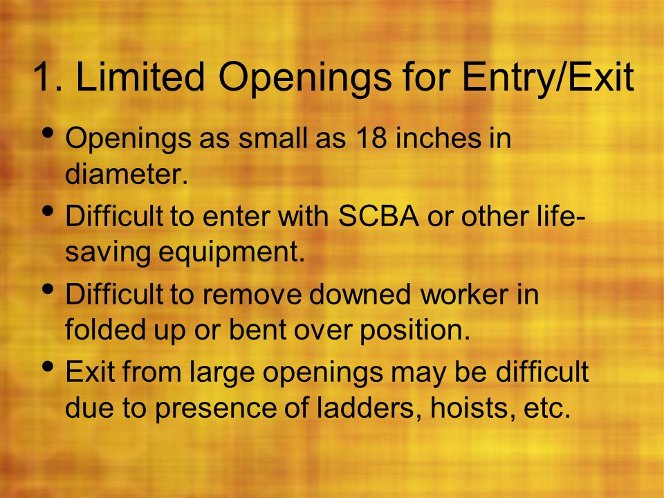 1. Limited Openings for Entry/Exit
