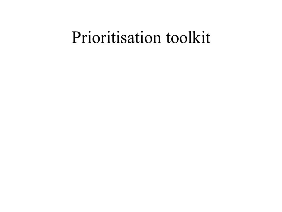 Prioritisation toolkit