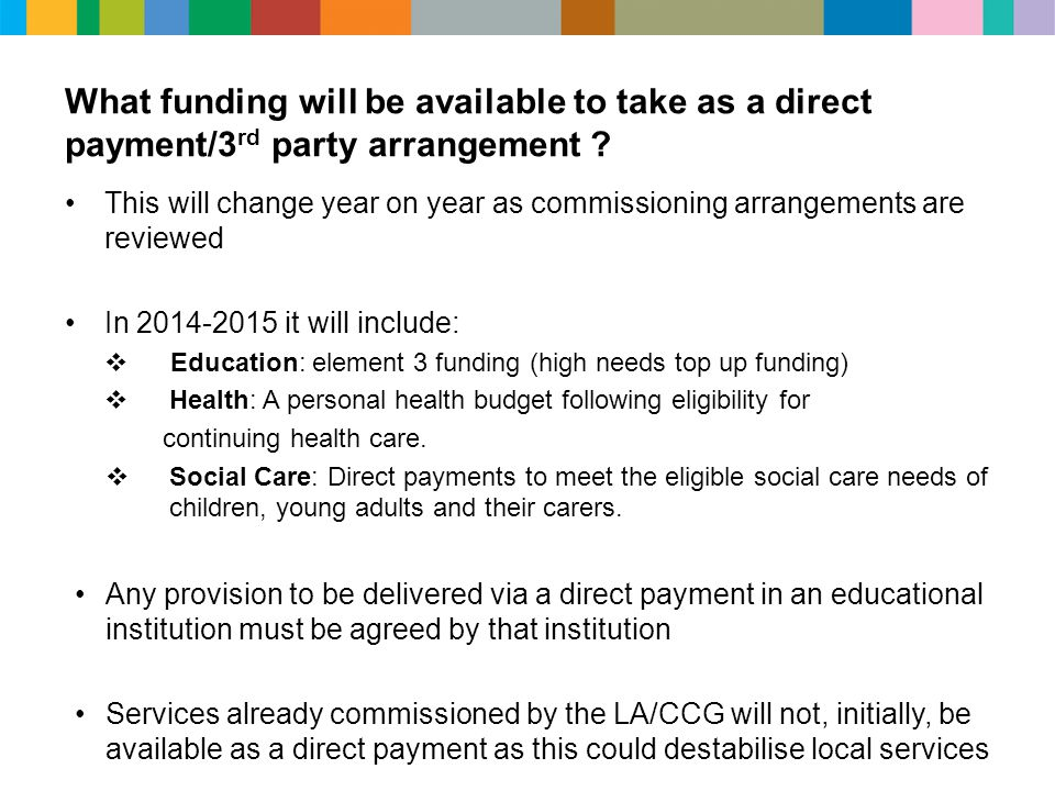 What funding will be available to take as a direct payment/3rd party arrangement