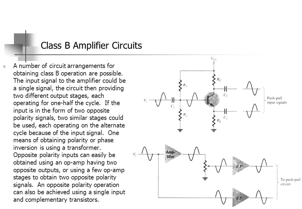 Class B Amplifier Circuits