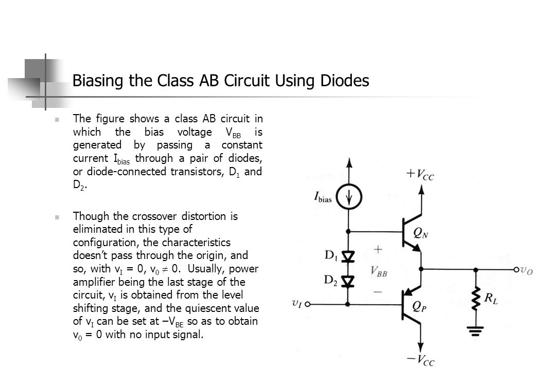 Biasing the Class AB Circuit Using Diodes