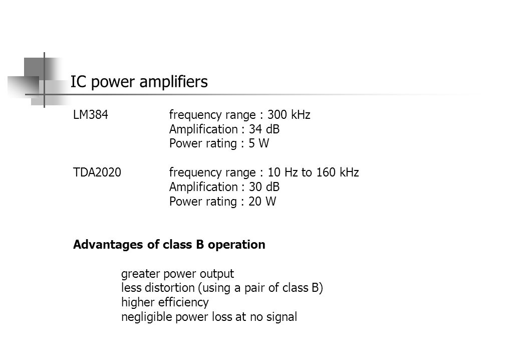 IC power amplifiers LM384 frequency range : 300 kHz