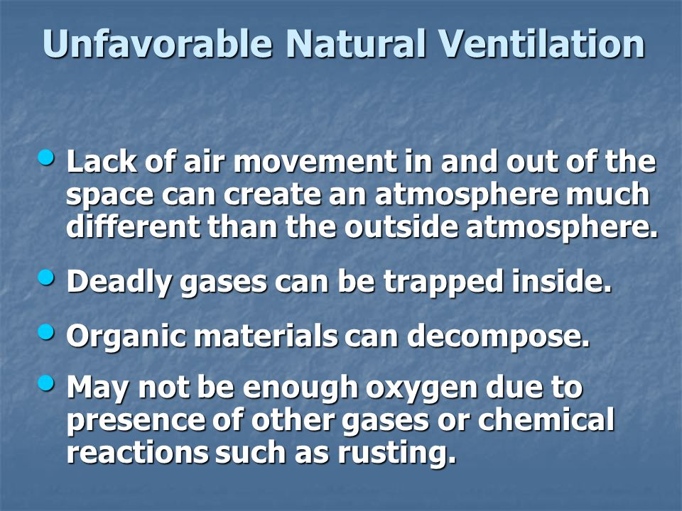 Unfavorable Natural Ventilation