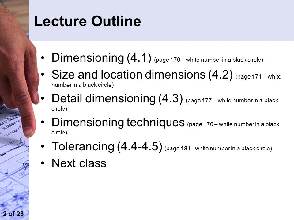 Lecture Outline Dimensioning (4.1) (page 170 – white number in a black circle)