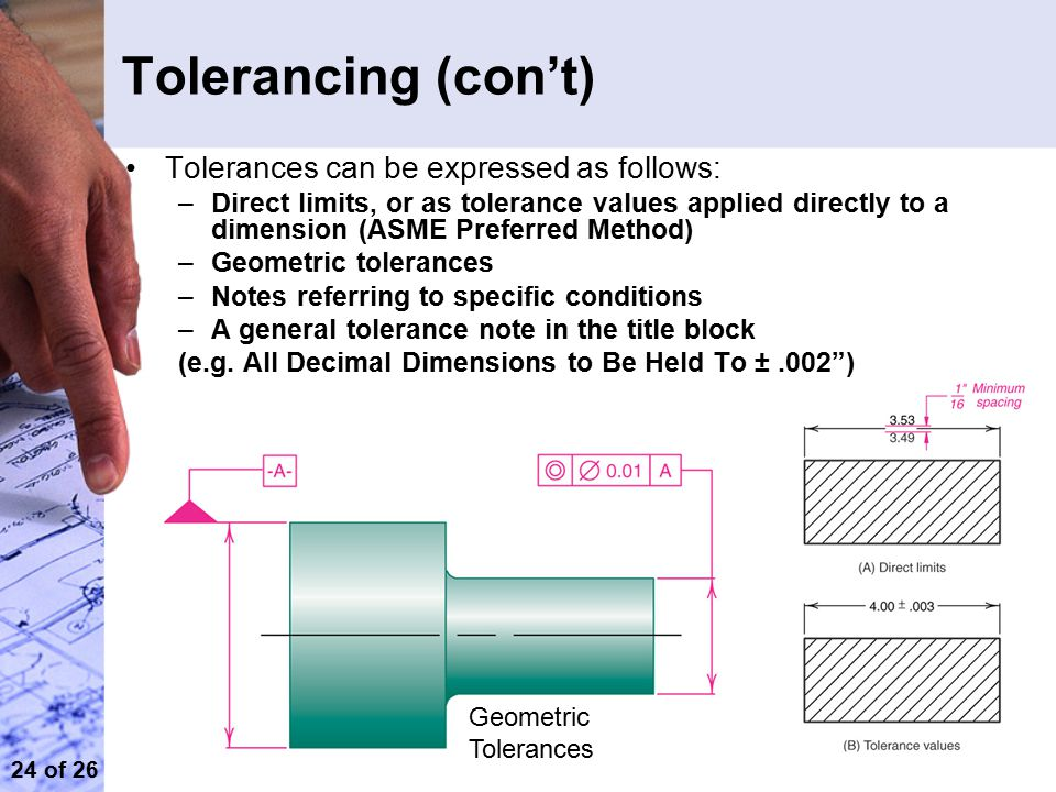 Tolerancing (con't) Tolerances can be expressed as follows: