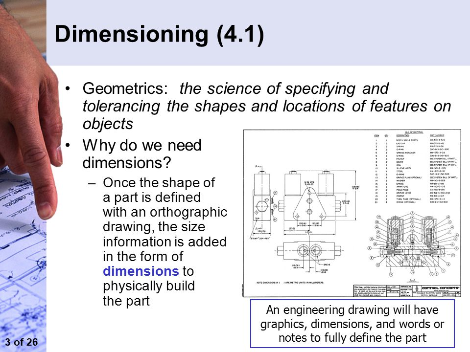 Dimensioning (4.1) Geometrics: the science of specifying and tolerancing the shapes and locations of features on objects.