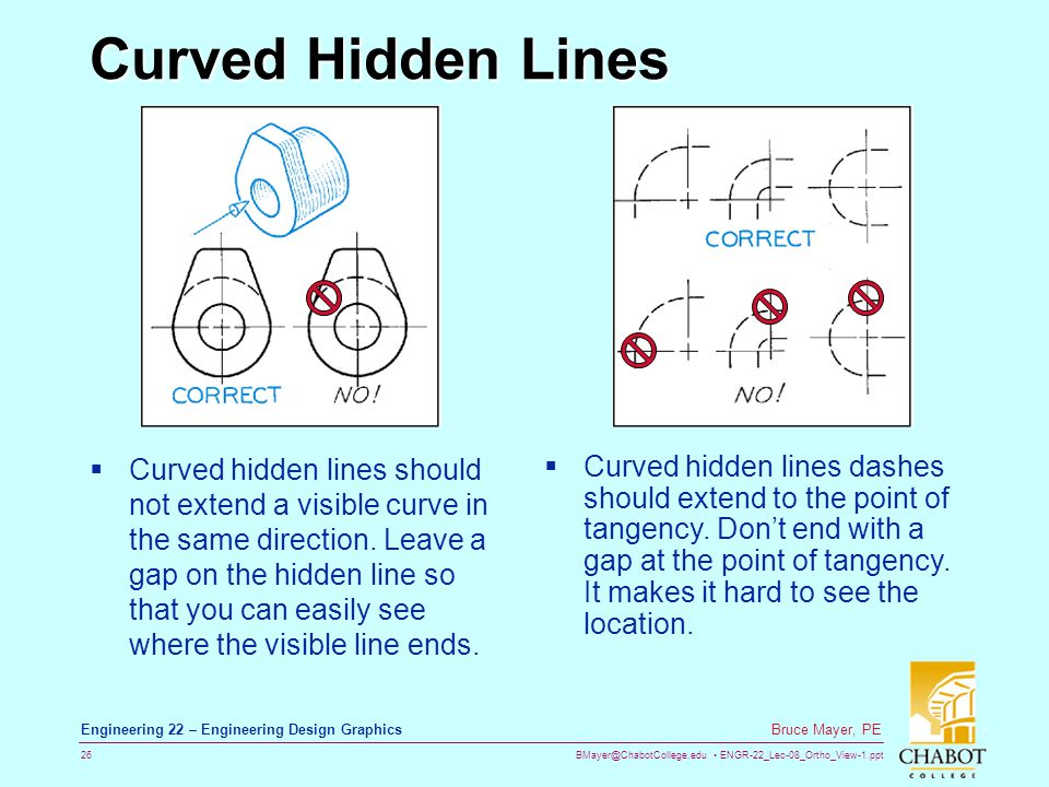 Curved Hidden Lines