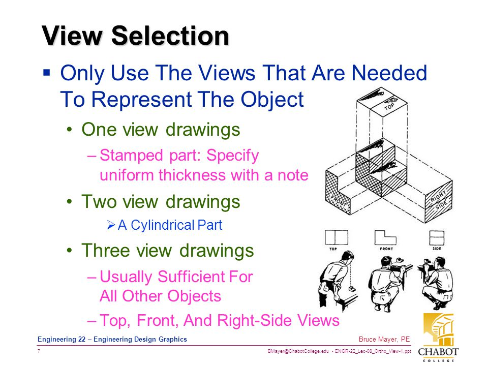 View Selection Only Use The Views That Are Needed To Represent The Object. One view drawings. Stamped part: Specify uniform thickness with a note.