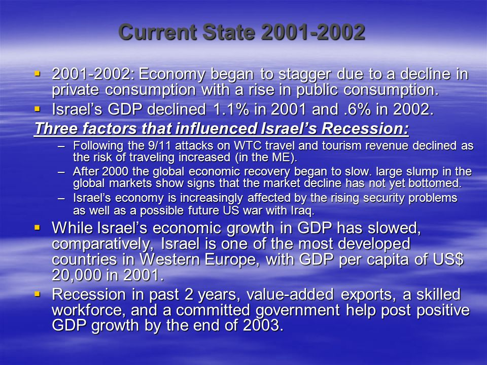 Current State 2001-2002 2001-2002: Economy began to stagger due to a decline in private consumption with a rise in public consumption.