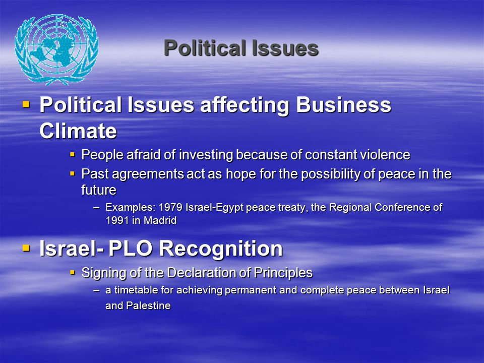 Political Issues affecting Business Climate