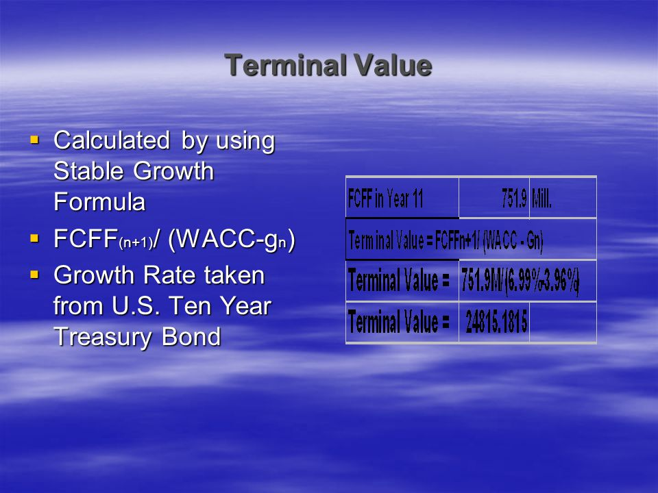 Terminal Value Calculated by using Stable Growth Formula