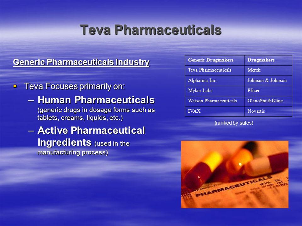 Teva Pharmaceuticals Generic Pharmaceuticals Industry. Teva Focuses primarily on: