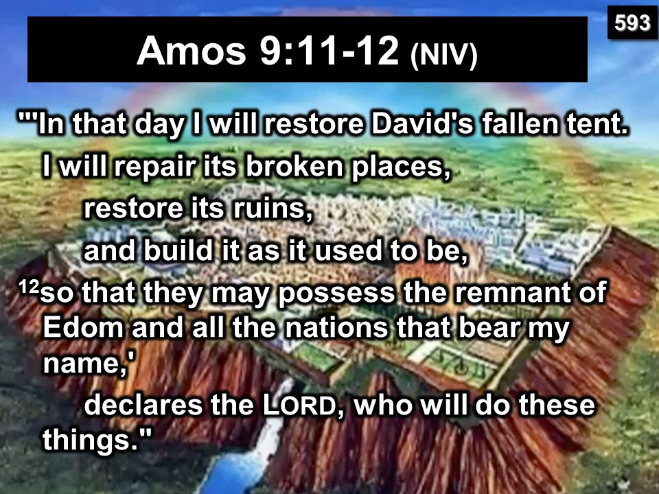 Amos 9:11-12 (NIV) In that day I will restore David s fallen tent.