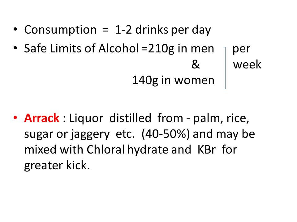 Consumption = 1-2 drinks per day