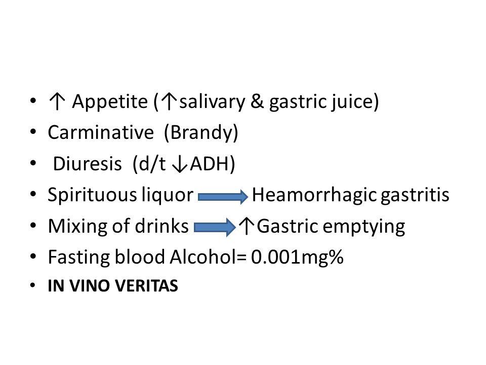 ↑ Appetite (↑salivary & gastric juice) Carminative (Brandy)