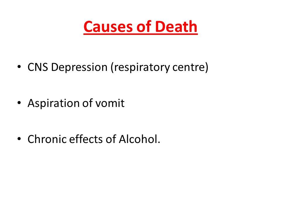 Causes of Death CNS Depression (respiratory centre)