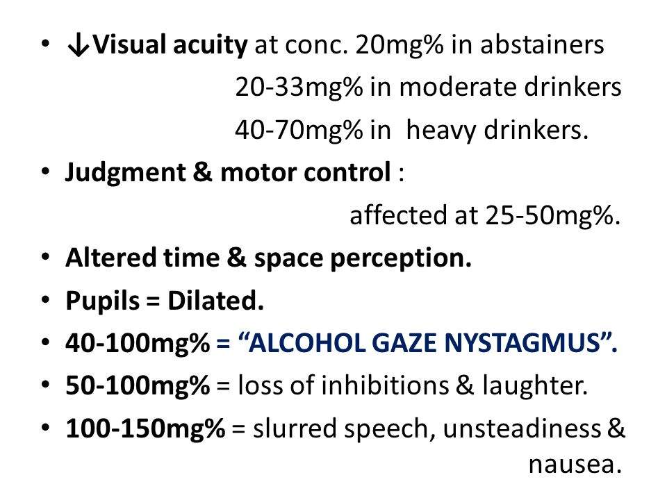 ↓Visual acuity at conc. 20mg% in abstainers