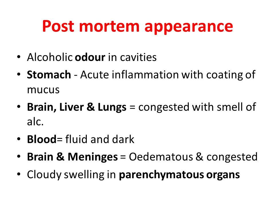 Post mortem appearance