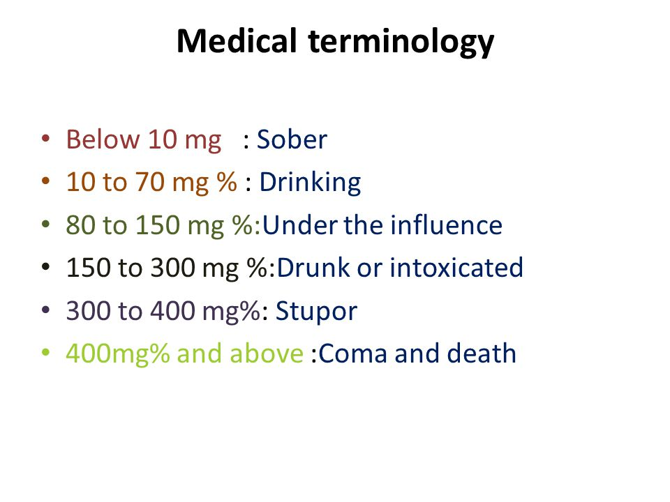 Medical terminology Below 10 mg : Sober 10 to 70 mg % : Drinking