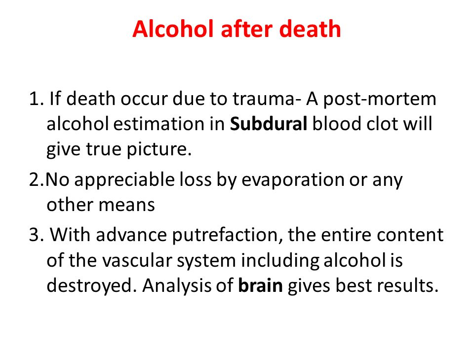 Alcohol after death