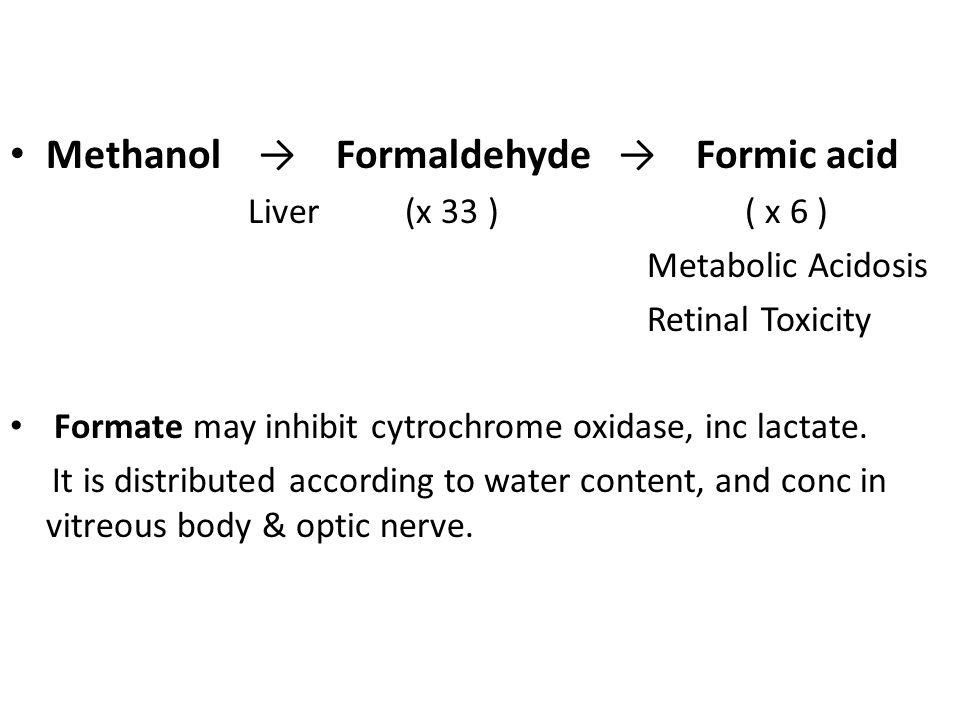 Methanol → Formaldehyde → Formic acid