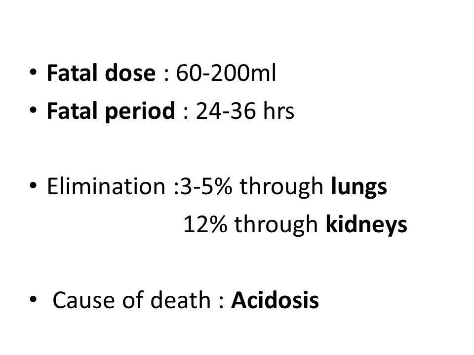 Fatal dose : 60-200ml Fatal period : 24-36 hrs. Elimination :3-5% through lungs. 12% through kidneys.