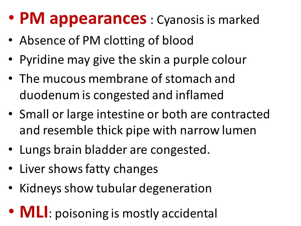 PM appearances : Cyanosis is marked