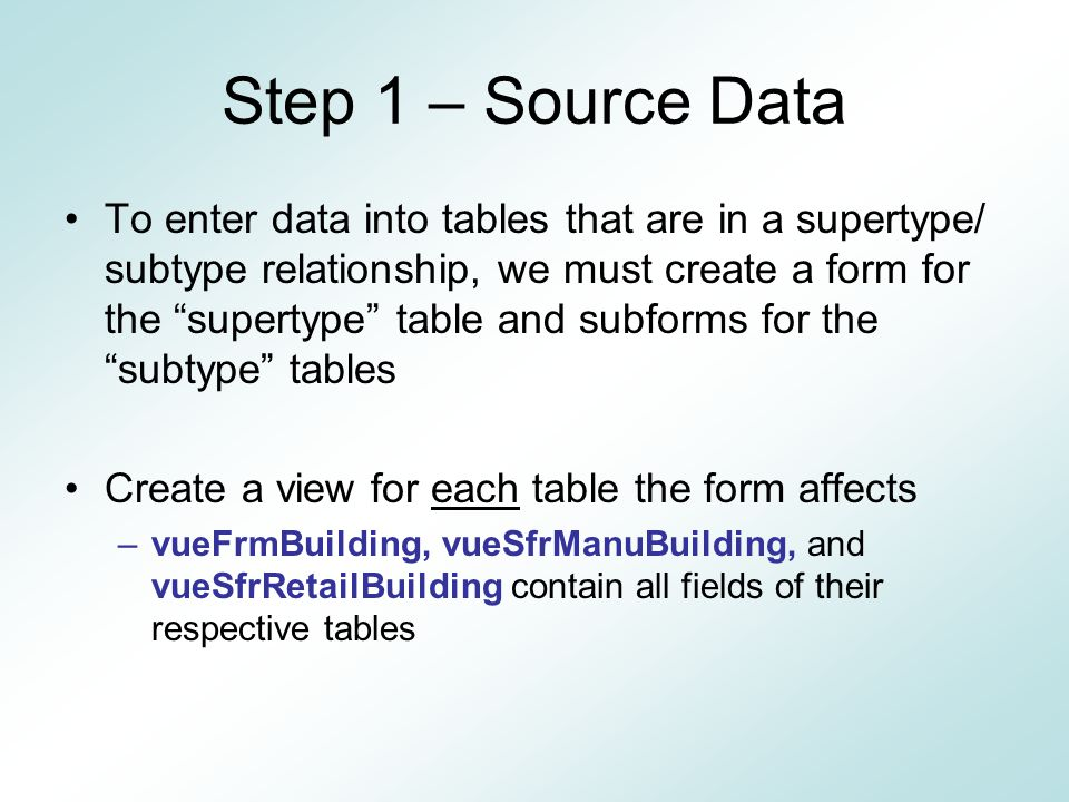 Step 1 – Source Data