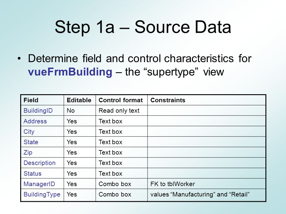 Step 1a – Source Data Determine field and control characteristics for vueFrmBuilding – the supertype view.