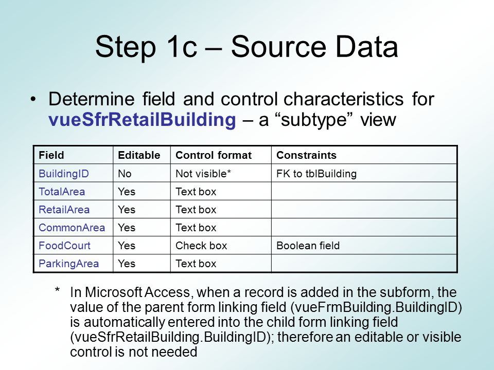 Step 1c – Source Data Determine field and control characteristics for vueSfrRetailBuilding – a subtype view.