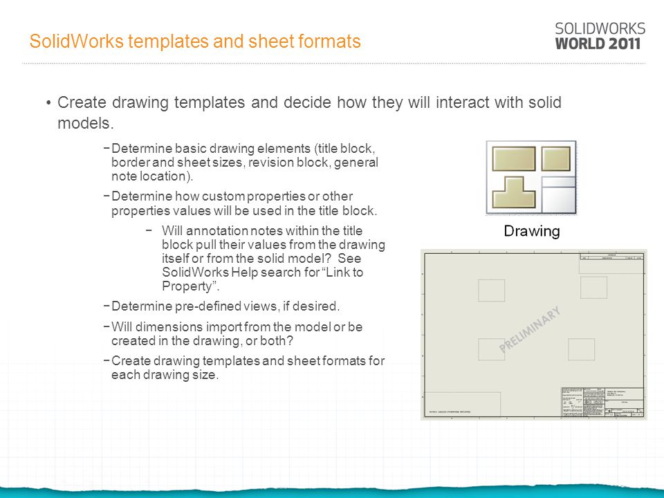 SolidWorks templates and sheet formats