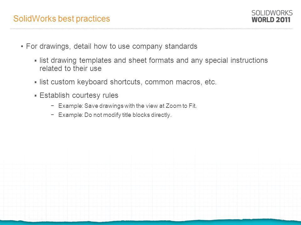 SolidWorks best practices