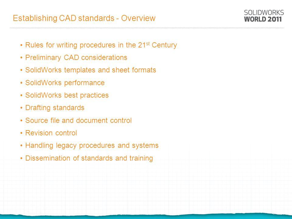 Establishing CAD standards - Overview