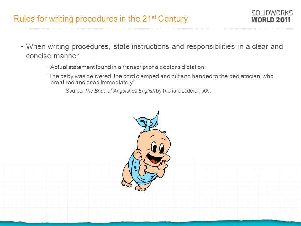 Rules for writing procedures in the 21st Century