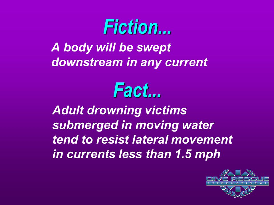 Fiction... Fact... A body will be swept downstream in any current