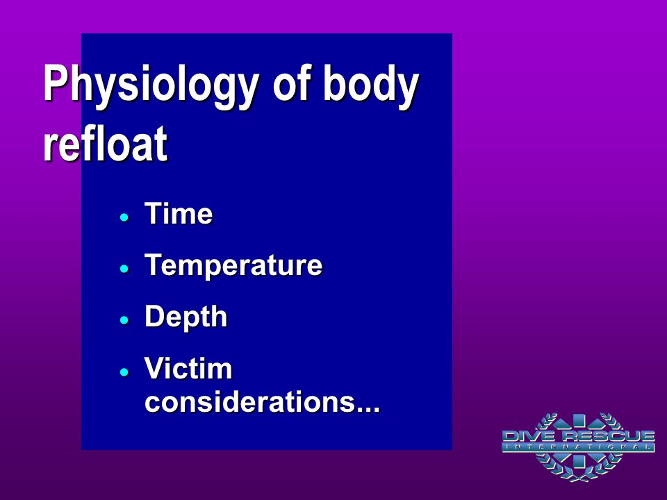 Physiology of body refloat