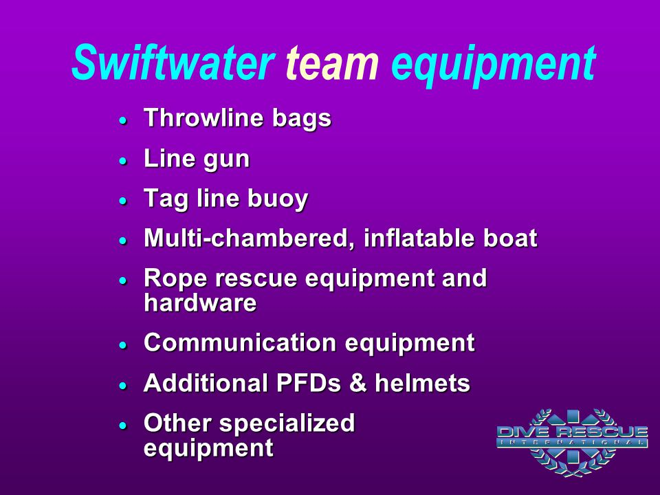 Swiftwater team equipment
