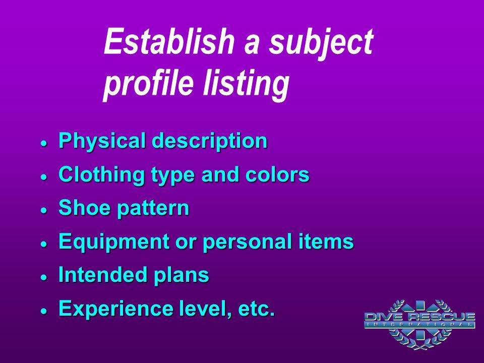 Establish a subject profile listing