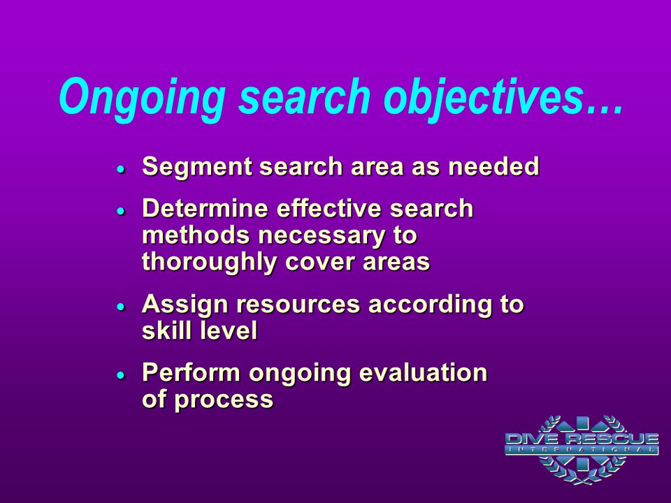 Ongoing search objectives…