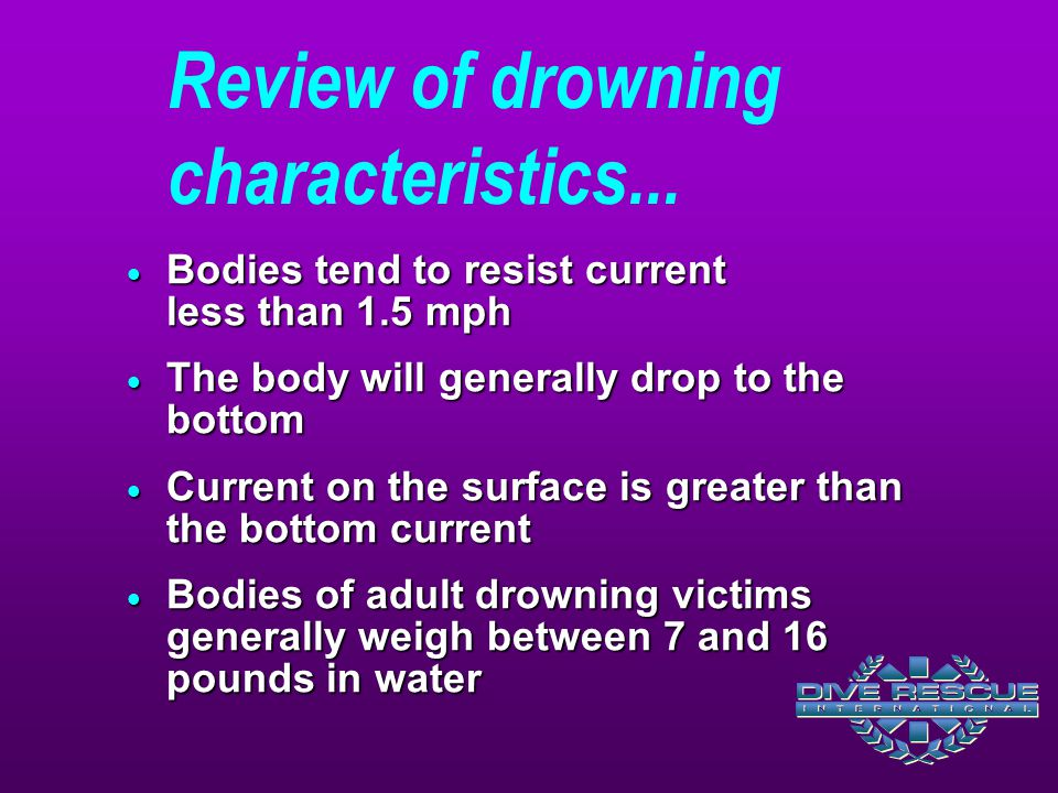 Review of drowning characteristics...