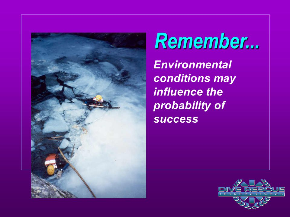 Remember... Environmental conditions may influence the probability of success.