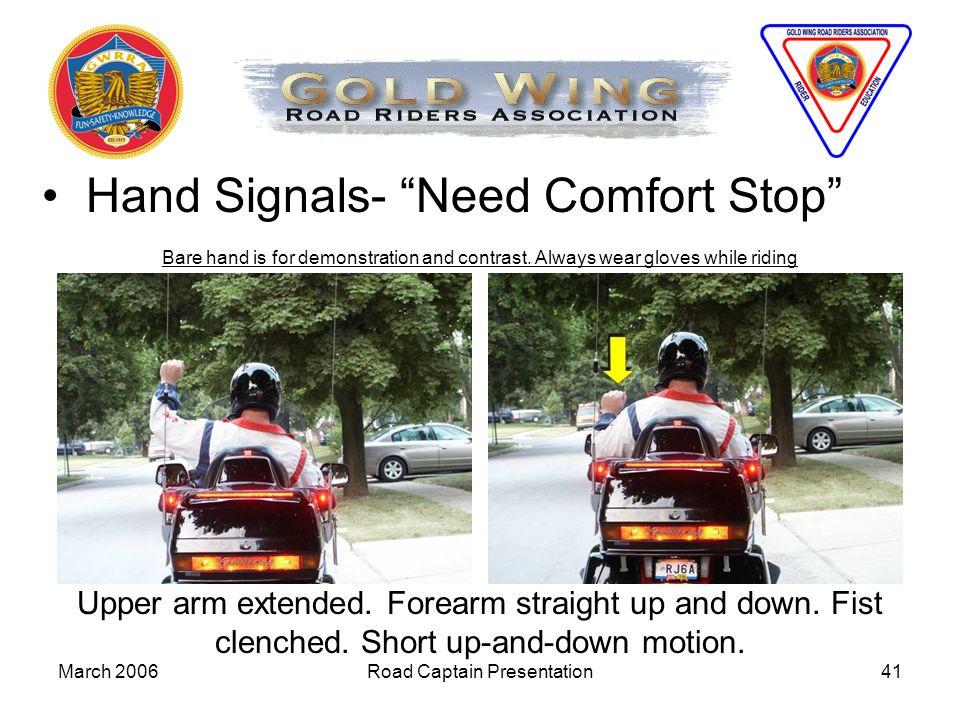 Hand Signals- Need Comfort Stop