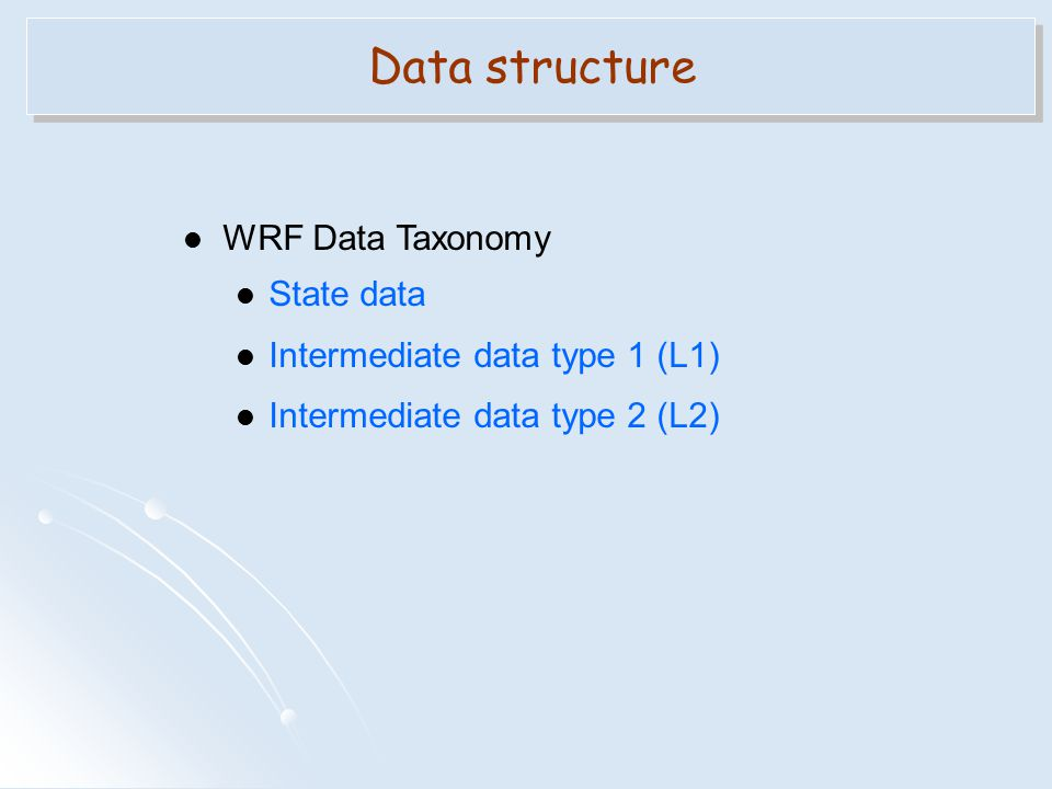 Data structure WRF Data Taxonomy State data